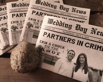 Mini NEWSPAPER Wedding Program - Custom - VINTAGE Rustic Modern Typography - Recycled - 4 Page - Eco - Sample - Printed - Digital File