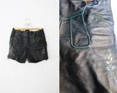Vintage Authentic Lederhosen Leather Shorts with Flower Paint Print