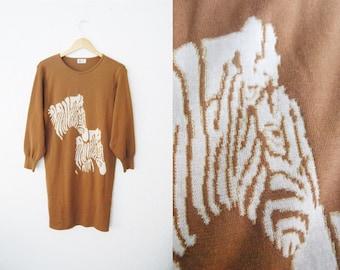 Vintage 1980s Zebra Print Wool Brown and Gold Sweater Dress Mini