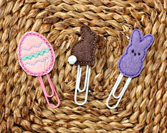 Spring Easter Chocolate Bunny Peep Egg set of three Clips for Planner Journal Book Bible Bookmark