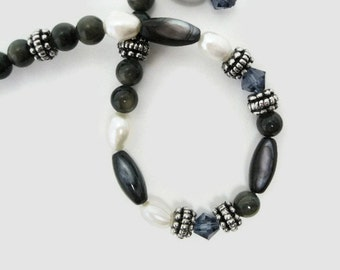 Pearl Bracelet beaded black shell white freshwater pearls swarovski sapphire crystal handmade charm work or weekend bracelet