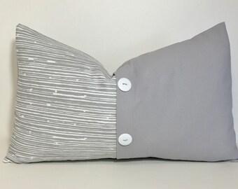 Grey colorblock pillow cover. Button pleat pillow cover. 12x20 lumbar pillow cover. pleat accent lumbar pillow cover, throw pillow