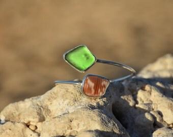 Sterling Silver Hawaiian Beachglass and Shell Chip Cuff Bracelet