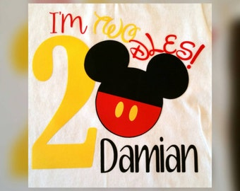 I'm Twodles 2nd Birthday Shirt, Mickey Mouse 2nd Birthday Shirt, Mickey Mouse, Minnie Mouse, Birthday Shirts, Disney Birthday Shirt, Disney