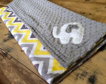 Gray/Yellow/White Chevron/Elephant Minky Blanket