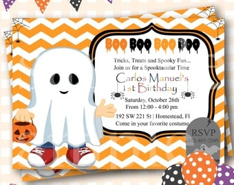 Halloween Birthday Invitations, Halloween Birthday Invites, Halloween Ghost Invites, Ghost Costume Invitations, Halloween Invitations - H30