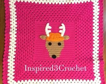 Crochet Baby Blanket with Dodge the Deer panel - Granny Border Blanket -  Deer Head antlers silhouette - Pink or Camo - 24 x 24