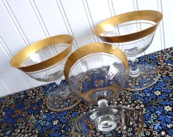 Tiffin 3 Gold Enrcusted Minton Venetian Etched Sherbet Glasses Vintage 1930s Set Of 3 Champagne