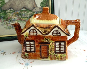 English Cottage Ware Teapot Tea Pot Ye Olde Cottage Hand Painted 1950s Cottageware Price Kensington