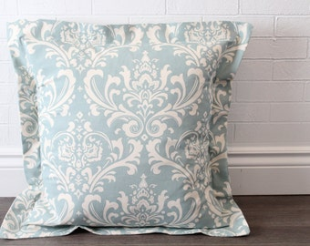 "26x26"" Blue and Natural Damask Euro Pillow Sham with 2"" Flange"
