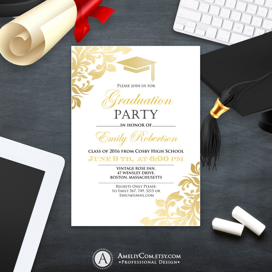 graduation party invitation template printable gold foul girl