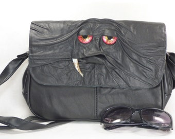 Cross Body Messenger Purse With Face Monster Harry Potter Labyrinth Large Black Leather Goth