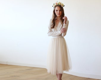 Champagne midi tulle dress with long sleeves , Bridesmaids champagne tulle midi dress 1068