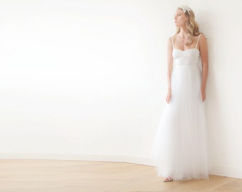 Ivory maxi tulle ballerina dress, Sweetheart maxi tulle wedding dress, Romantic ivory tulle gown