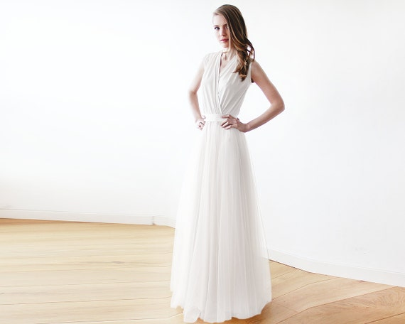 Ivory minimalist tulle wedding gown , Ivory bridal maxi tulle dress 1076