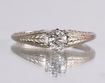 Antique Engagement Ring - Antique 1920s 14K White Gold Diamond Engagement Ring
