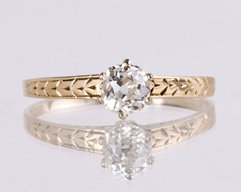 Antique Engagement Ring - Antique 14K Yellow and White Gold Diamond Engagement Ring