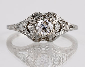 Antique Engagement Ring - Antique 18K White Gold Filigree Diamond Engagement Ring