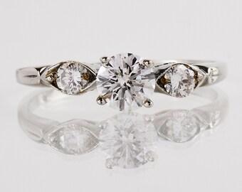 Vintage 1960s 14k White Gold Diamond Engagement Ring