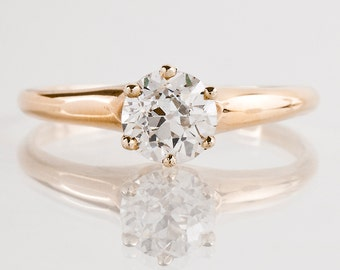 Antique Engagement Ring - Antique 14k Yellow Gold Solitaire Diamond Engagement Ring