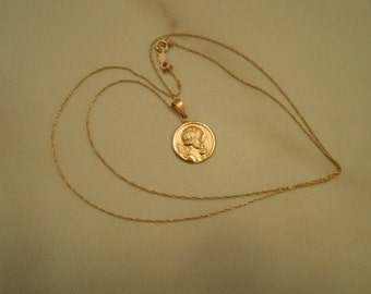 14K Solid Yellow Gold Angel, Chain Pendant Necklace