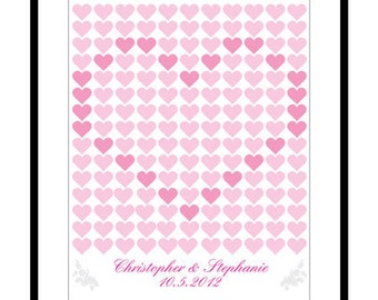 DIY Printable Personalised Wedding Guest Book Poster - Wedding Registry - 16x20 inch - 165 Signatures - Love Heart Pattern - PDF Poster