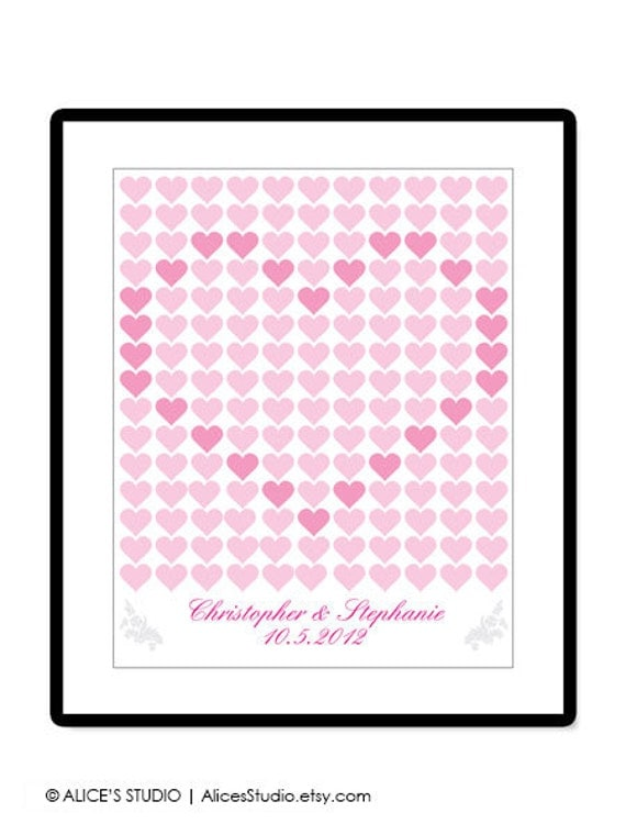 DIY Printable Wedding Guest Book Poster - Wedding Registry - 16x20 inch - 165 Signatures - Love Heart Pattern - PDF Poster