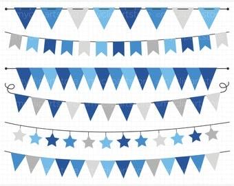 Bunting - Hanukkah (Blue & Silver) Bunting Banner Flags Clip Art / Digital Clipart - Instant Download