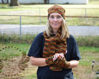 ALL SIZES Fall/Autumn Bundle Crochet Slouchy Pom Beanie Scarf Fingerless Gloves