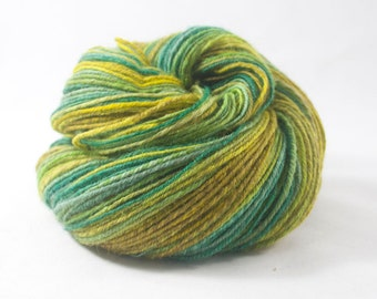 Handspun Yarn BFL Green and Yellow 354m