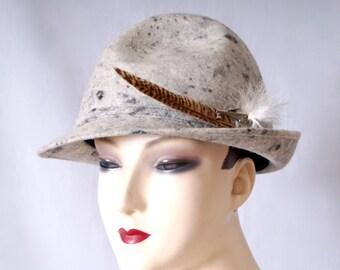 Vintage 1960s Tyrol Austria Spitzehut Sculpted Real Felt Hat Fedora Trilby