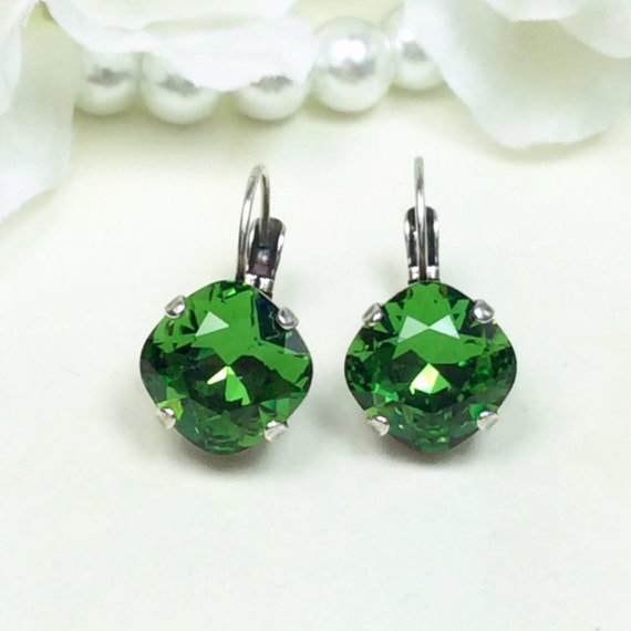 Swarovski Crystal 12MM Cushion Cut Lever- Back -Drop Earrings - Designer Inspired - Fern Green - On SALE 20. FREE SHIPPING