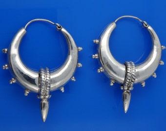 Sterling Silver Spiked Hoops Earrings Tribal Chic 24.8g