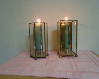 Two Glass and Brass Candle Holders!