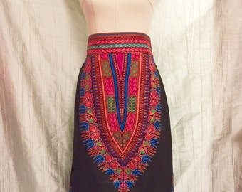 Dashiki Midi Length Skirt High Waist