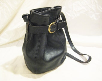 Coach Black Leather Small Bucket Bag