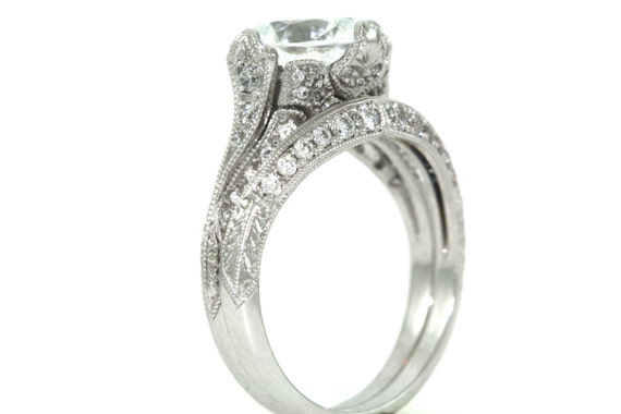 14kt White Gold And Diamond Bridal Set Engagement Ring And
