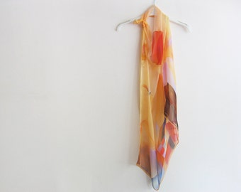 Square silk chiffon scarf hand dyed abstract wearble art - ready to ship