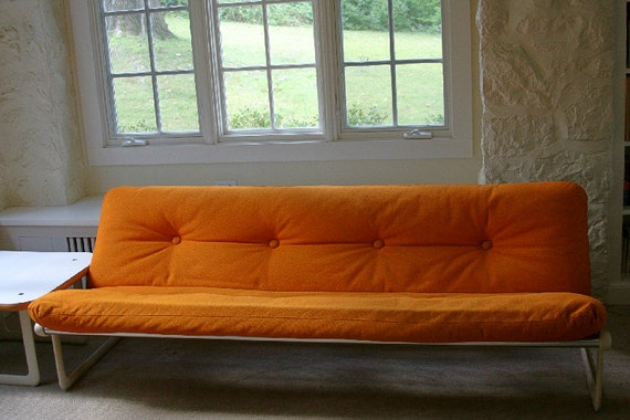 Knoll Hannah and Morrison 70s Sofa - Orange Wool Hopsack Upholstery Sling Modern Couch
