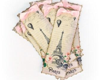 20 Paris Bridal Shower Favors, Eiffel Tower Bookmarks, Cottage Chic, Baby Shower Favors, Shabby, Pink, Personalized, Paris Bookmarks