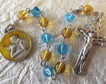 Guardian Angel in Yellow Rosary Tenner