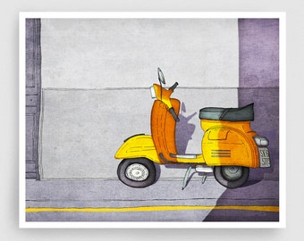 Paris Art Print - Vespa (yellow) - Paris Vespa Illustration Print Paris decor Home decor Nursery art Kids wall art Yellow Paris Poster