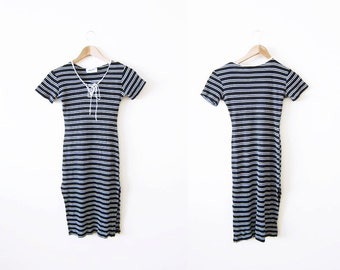90s Dress / Striped Dress / Lace Up Dress / Bodycon / Black and White / Petite