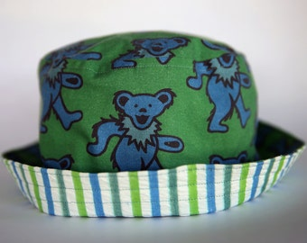Adult & Child Sizes Grateful Dead Dancing Bears Bucket Hat/Sun Hat with Vintage 1950's Seersucker in blue and green stripes