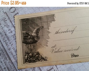 HUGE SALE Beautiful Unused 100 Year Old Antique Checks   Bird and Roses   Engraved