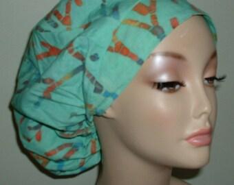 Batik Coral Design Turquoise Green OR Bouffant Scrub Hat CNOR