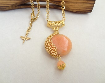 Salmon Stone Necklace, Salmon Jade Necklace, Gold Frame Necklace,Chain Necklace,Charm Necklace, Elegant,Feminine Necklace, Mother's Day Gift
