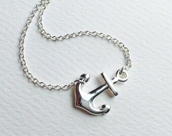 """All Sterling Sideway Anchor Necklace, 16"""" , 17"""" inch, nautical, sideways, marine, spiritual"""
