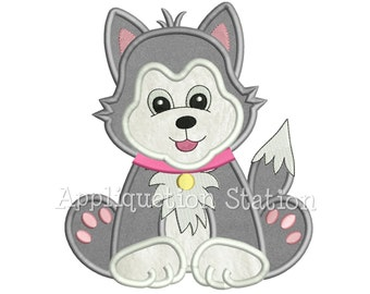 Cute Baby Husky Puppy Dog Applique Machine Embroidery Design Pattern Boy Girl animal INSTANT DOWNLOAD