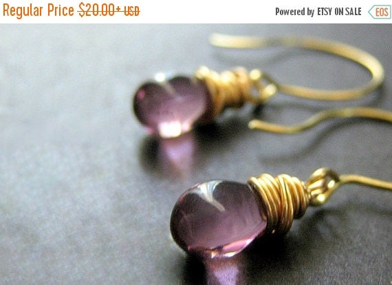 HALLOWEEN SALE 14K Gold Wire Wrapped Earrings - Orchid Purple Teardrop Earrings. Handmade Jewelry.